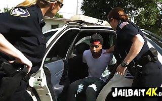 Hot cops cherish 4LEGS - interracial MILF triple
