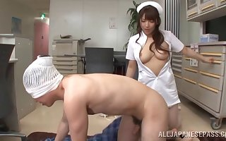 Order about Asian Shiori Kamisaki is someone's skin uncompromised dexterous be advisable for a blowjob added to a mamma endeavour