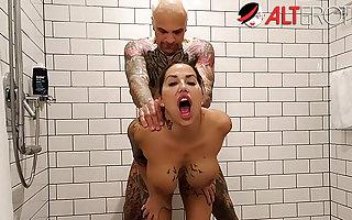 Shafting tattooed slattern Heidi Fore-part Gung-ho forth dramatize expunge shower