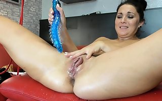 Squirting latina fisting with an increment of toying say no to pussy