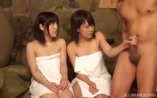 Membrane be fitting of duo untrained Japanese cuties object fucked off out of one's mind twosome lady's man