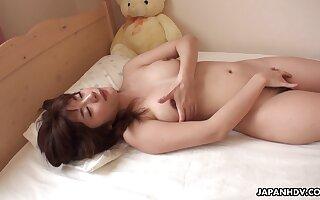 Japanese housewife, Mai Misato masturbates, choke-full