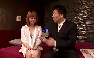 Bosomy Japanese housewife Azumi enjoys having coition on touching four guys