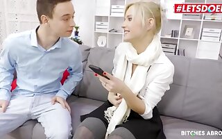 Beautiful blonde girl is sucking dick and object fucked in her office, instead of doing her job